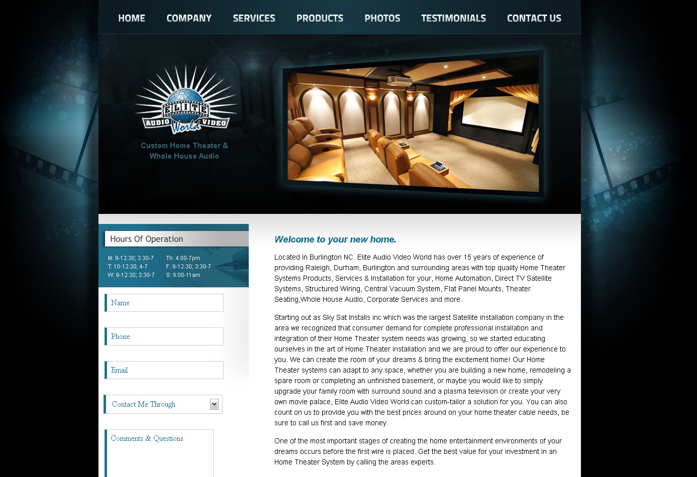 Etonnant Home Theater Web Design